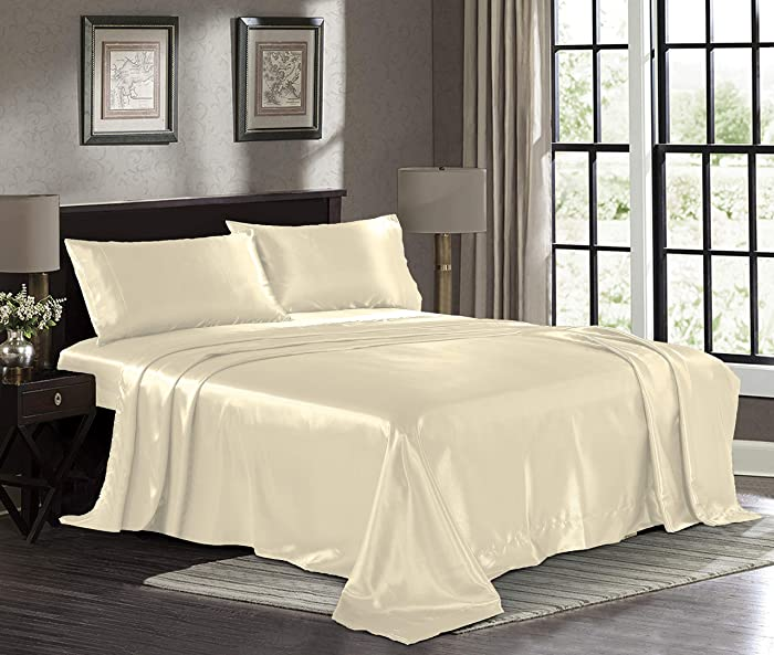 PURE LINEN Satin Sheets Twin [3-Piece, Ivory] Hotel Luxury Silky Bed Sheets - Extra Soft 1800 Microfiber Sheet Set, Wrinkle, Fade, Stain Resistant - Deep Pocket Fitted Sheet, Flat Sheet, Pillow Cases