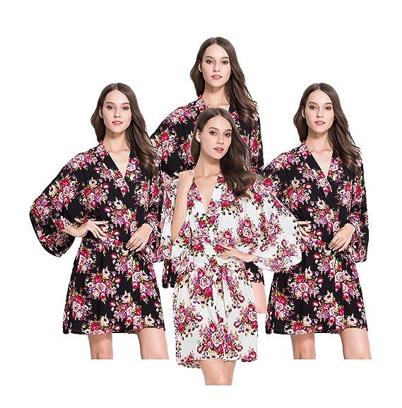 FETE FABULOUS Set of 4- 1 Light Ivory   3 Black Rose FLORAL Kimono Dressing ab303ec43