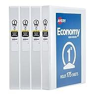 """Avery Economy View Binder, 1"""" Round Rings, 175-Sheet Capacity, 4 Binders, White (19200)"""