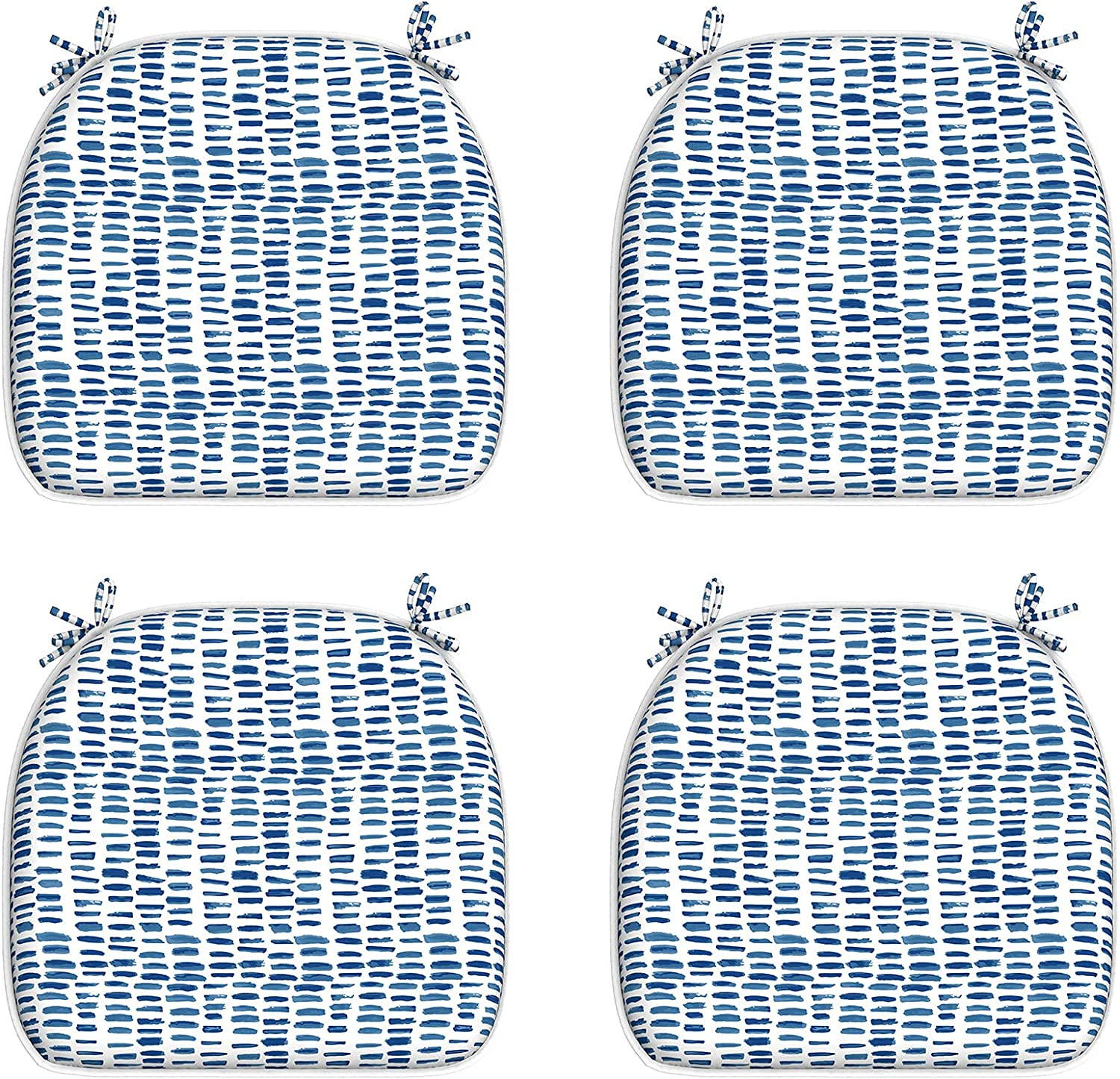 """LVTXIII Outdoor/Indoor Seat Cushions Patio Chair Pads with Ties, Water-Repellent Chair Cushions for Home Office and Patio Garden Furniture Decoration 16""""x17"""", Blue Pebble, Set of 4"""