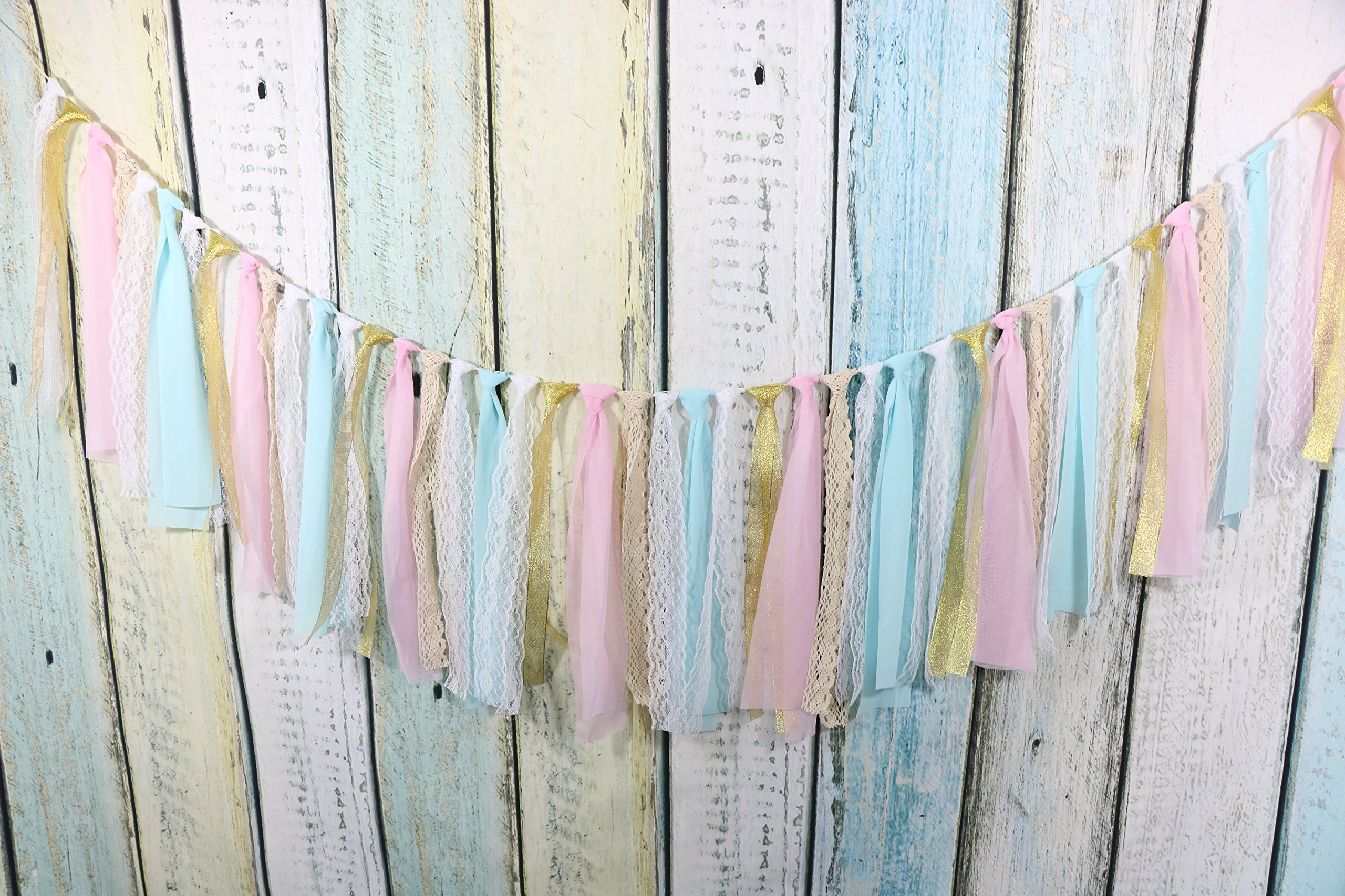 Lace Tassel Garland, Rag Tie Banner Already Assembled For Rustic Wedding Baby Shower Photo Backdrop Party Decor Nursery Decor Girls Birthday Decor Boho Chic Decor Home Decor 5Ft(White+Pink+Blue) by sweet dream