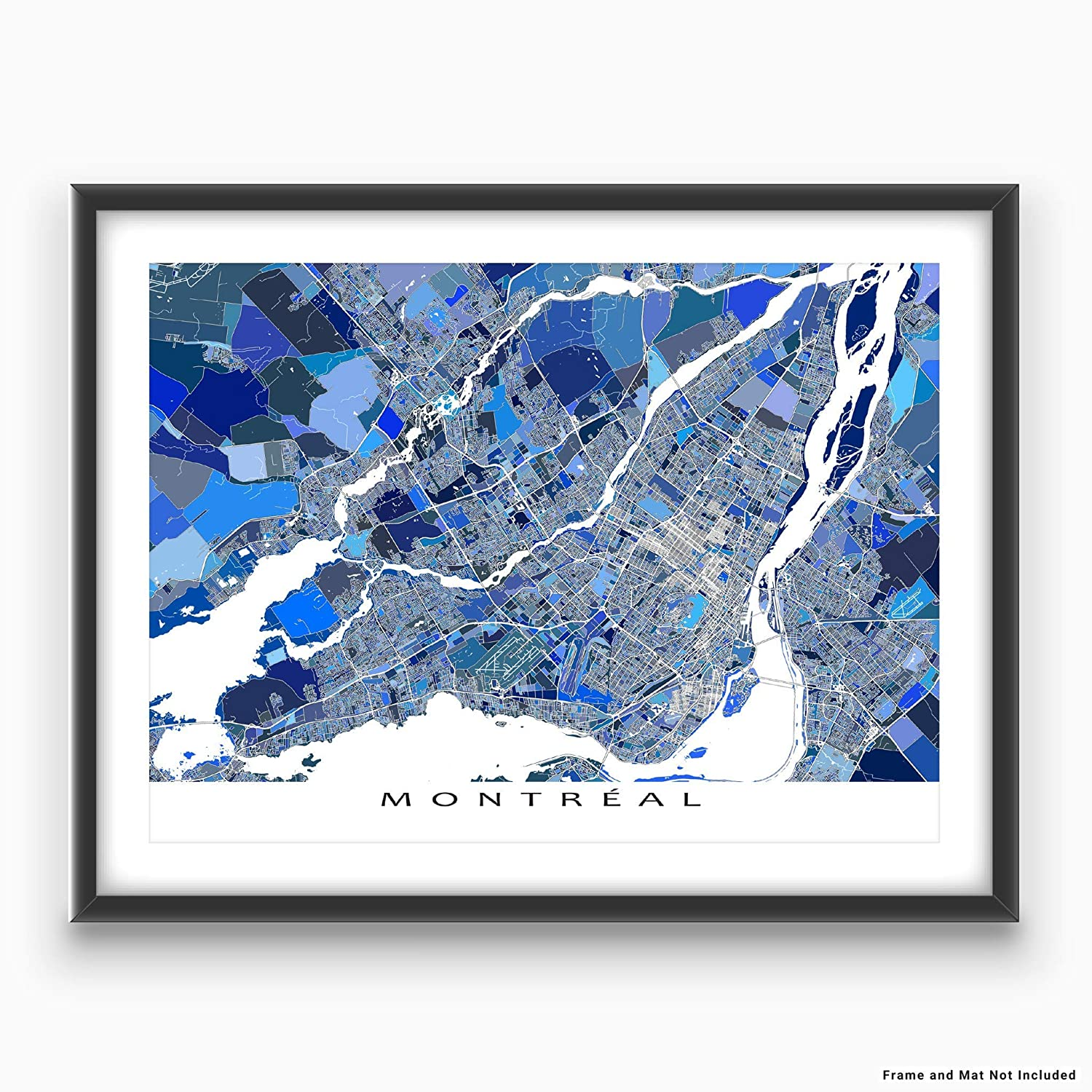 City Street Art Poster Blue Montreal Map Print Quebec Canada