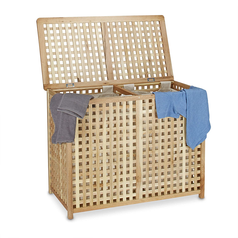 2/parte colada 46,1/x 87,9/x 68,1/cm lavander/ía Sorter doble la ropa sucia caja con 2/bolsas de basura para, Natural Relaxdays Cesto para la colada cesta para la ropa sucia