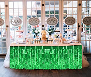 Treasures Gifted Solid Metallic Green Table Skirt Pack of 2 Shiny Table Fringe for Hawaiian Luau Tropical Birthday Christmas Mardi Gras Party Decorations