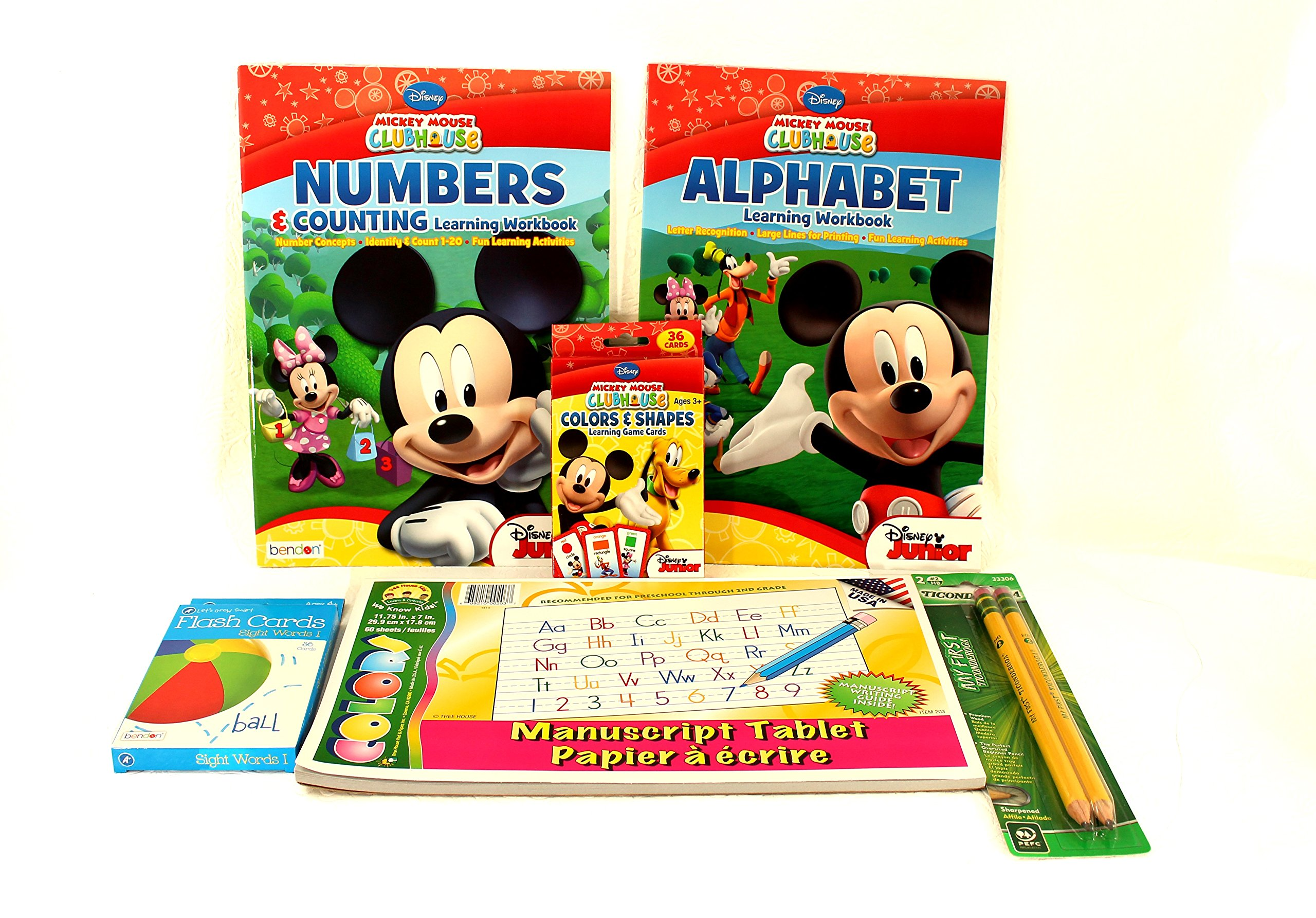 Ready for School Kindergarten Preschool Bundle Six Items: Alphabet Workbook, Numbers Workbook, Writing Tablet, 2pk Ticonderoga Beginner Pencils,Color/shape Flash Cards,Sight Words Flash Cards