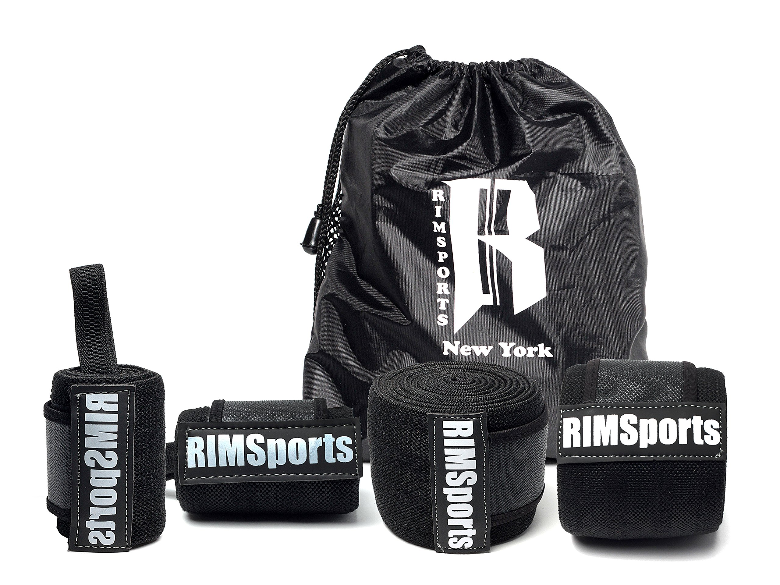 RIMSports Wrist Wraps - Knee Wraps Combo Best Knee Support for Squats - Ideal Wrist Straps for Weightlifting - Preferred Weightlifting Knee Wraps 80''& Wrist Wraps 18'' (Pair) Black with Gray