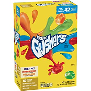 Betty Crocker Fruit Gushers, Strawberry Splash and Tropical, 0.9 Ounce (Pack Of 42)