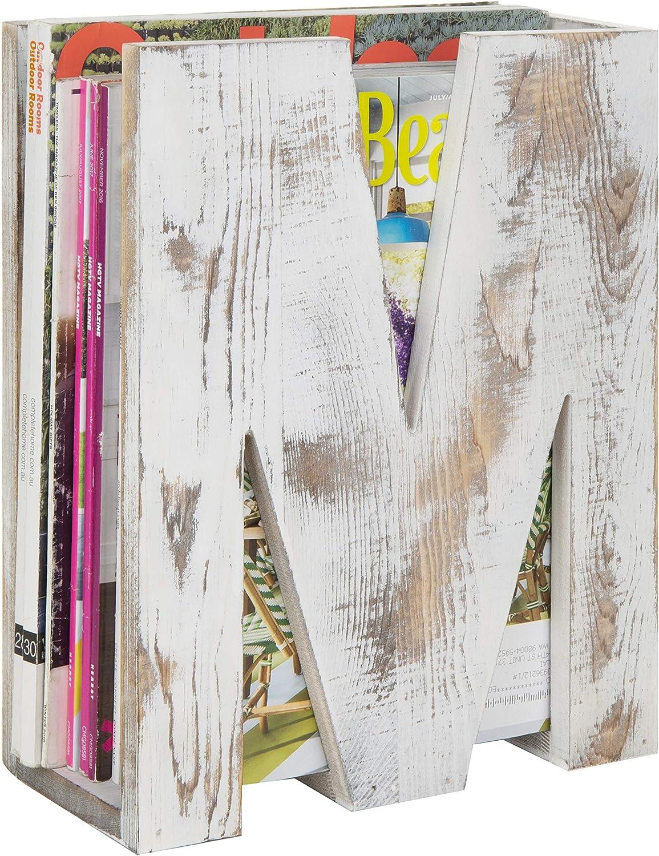 Rustic Desktop Wood Magazine File Holder with M-Shape Design