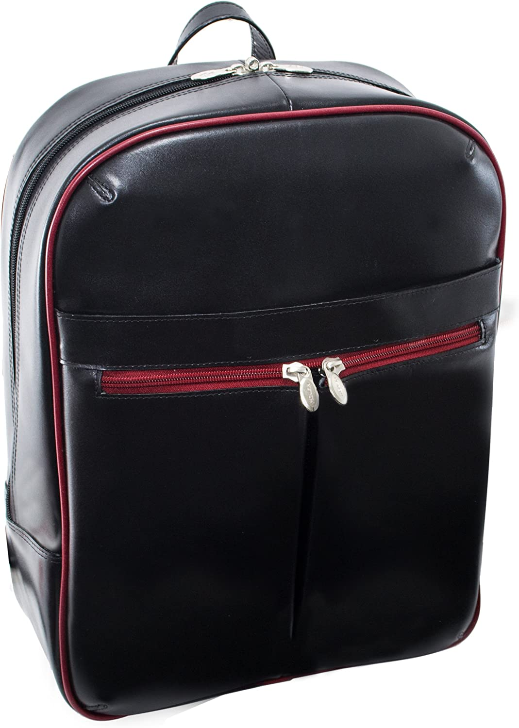 """McKlein, L Series, Avalon, Top Grain Cowhide Leather, 15"""" Leather Laptop Slim Backpack, Blk/Red Trim (87880)"""