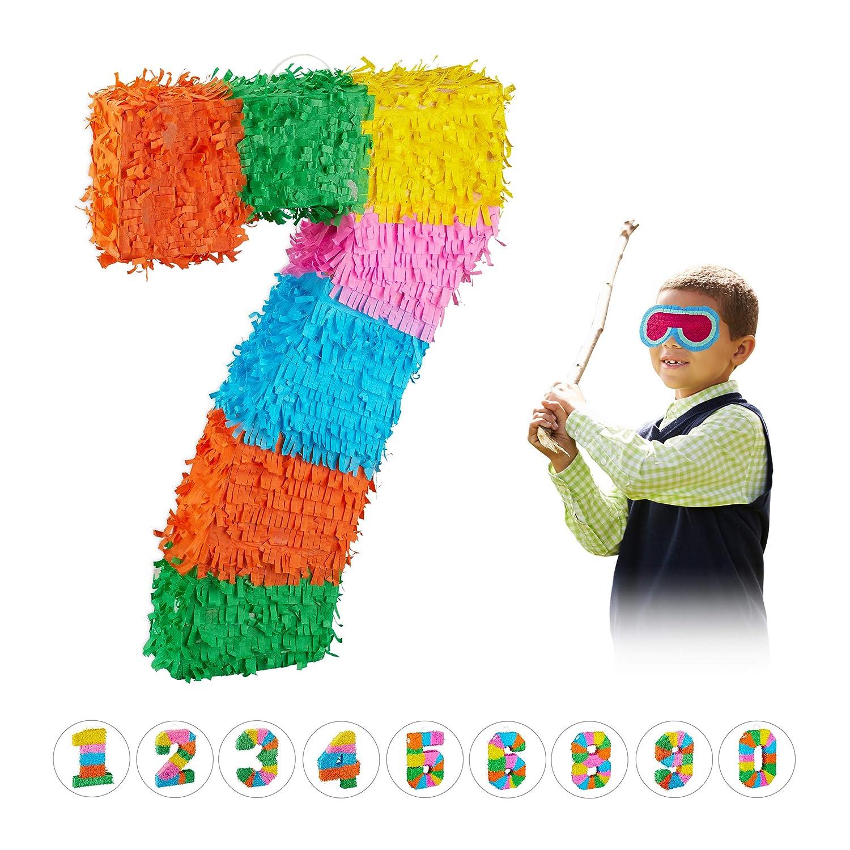 Relaxdays Piñata Cumpleaños Número 7 sin Relleno, Papel, Multicolor, 50,5 x 35,5 x 7,5 cm, (10025189_909)