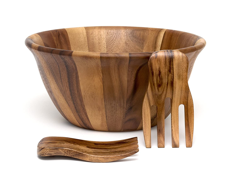 Lipper International 1194-3 Acacia Flair Rim Serving Bowl with 2 Salad Hands, 15.5