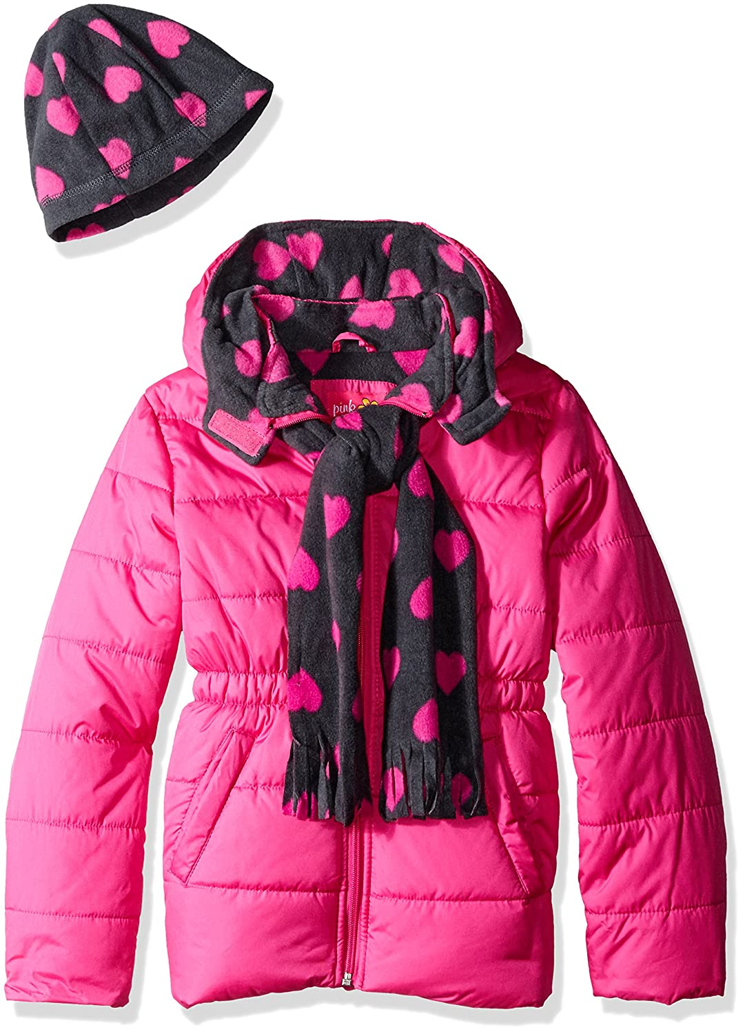 Pink Platinum Girls Puffer Jacket with Heart Print Lining and Accessories