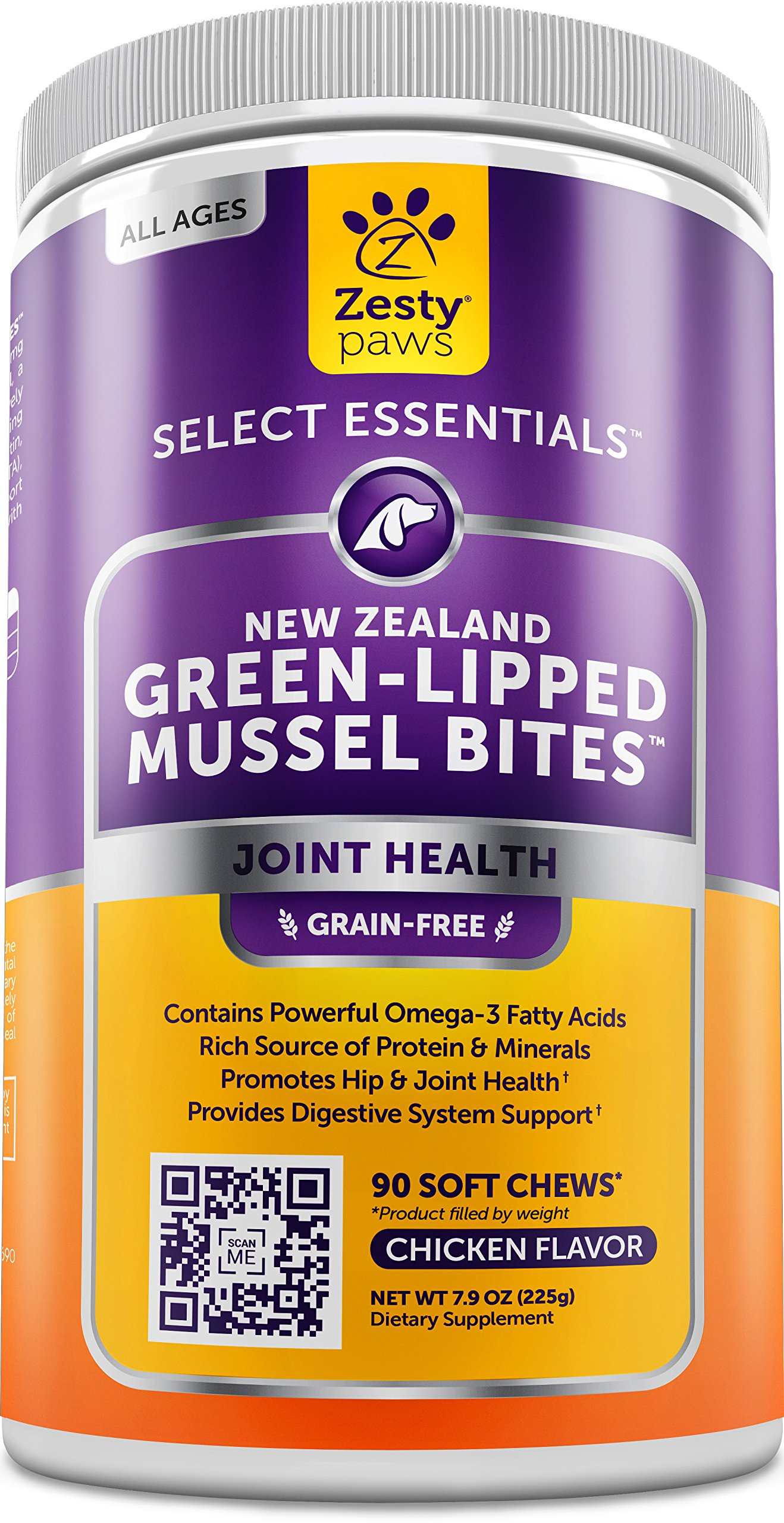 New Zealand Green Lipped Mussel Chewable Treats for Dogs - With Natural Glucosamine & Chondroitin + Omega-3 Fatty Acids & Protein - 500 mg Dog Hip & Joint Support Supplement Soft Chews - 90 Count