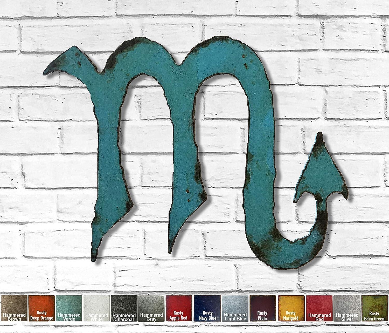 "Scorpio metal wall art home decor - Choose 11"", 17"", or 23"", Choose Patina color, Choose any Horoscope Zodiac Symbol"