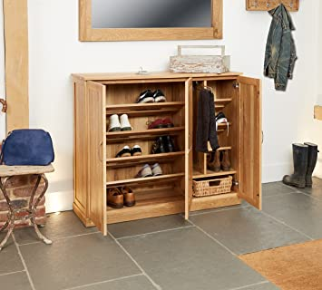 baumhaus mobel oak extra large shoe cupboard