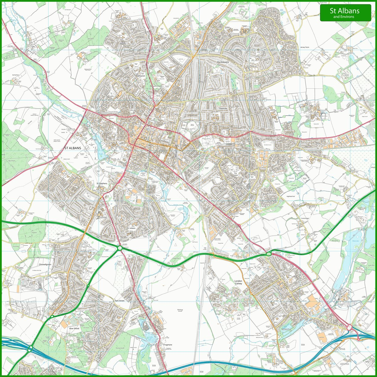 ST Albans calle mapa 125 – 125 x 125 mapa cm 066de7