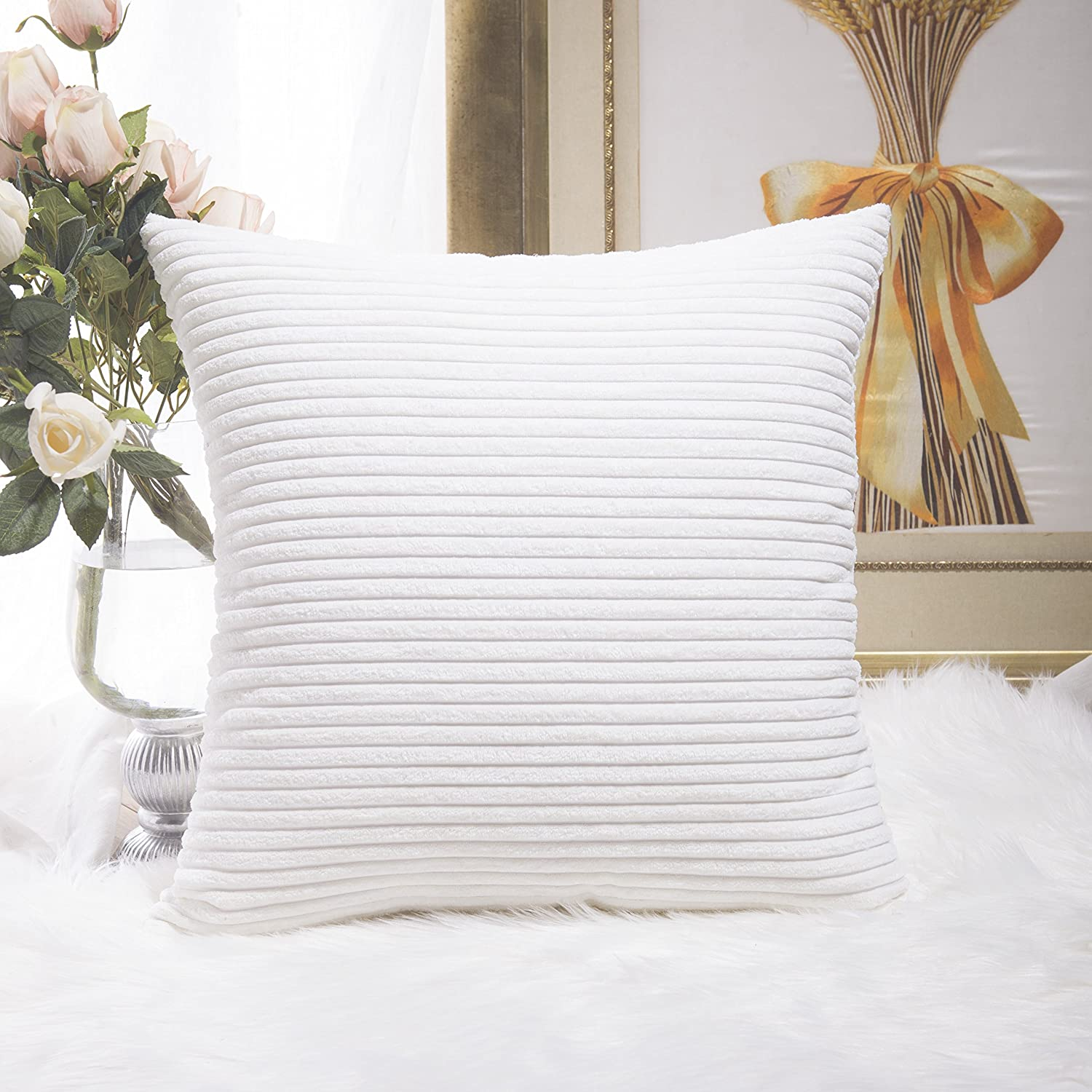 Home Brilliant Decorative Pillow Cover Fall Accent Solid Striped Corduroy Plush Velvet Cushion Cover Couch, Pure White, 18x18 inch (45cm)