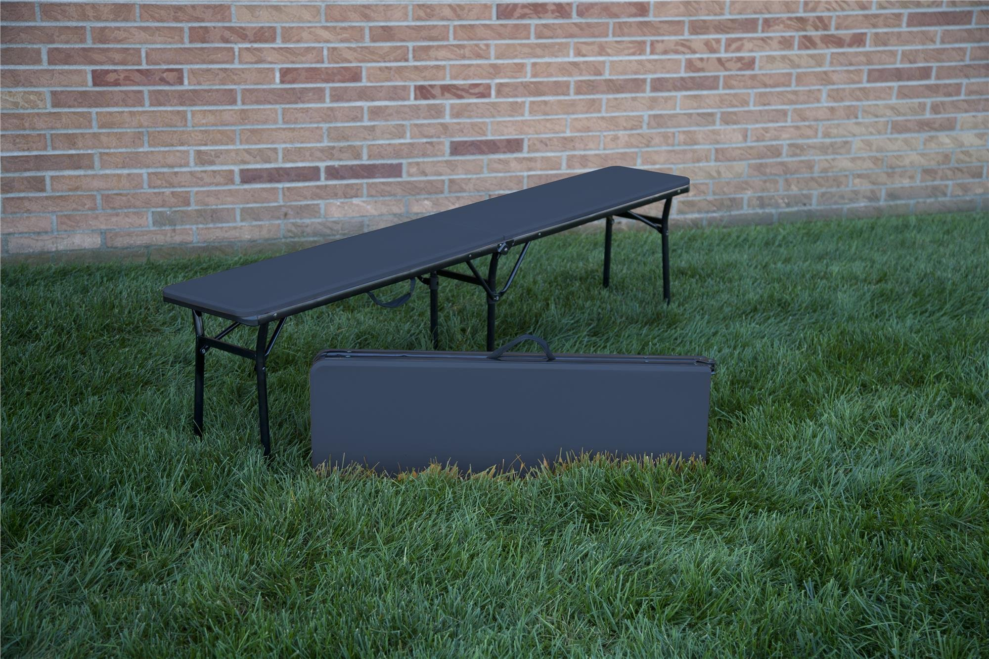 COSCO 6 ft. Indoor Outdoor Center Fold Tailgate Bench with Carrying Handle, Dark Blue Bench Top, Black Frame, 2-pack by Cosco Outdoor Living (Image #11)
