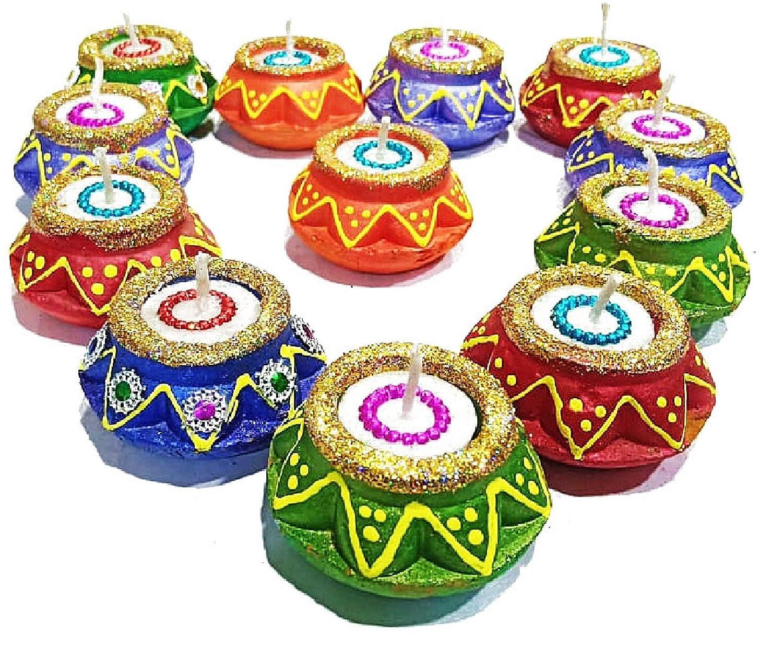 Deepawali Handmade Natural Earthen Oil Lamp//Welcome Traditional Diyas with Cotton Wicks Batti Diwali Oil lamp 8 Pc Set of Earthen Diwali Diya with Wax