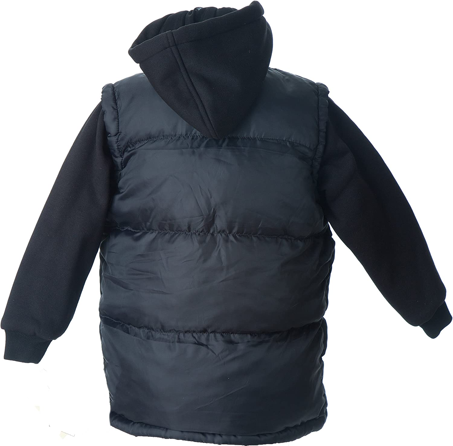 Lion Force Boys Puffer Vest Jacket with Fleece Hood and Sleeves