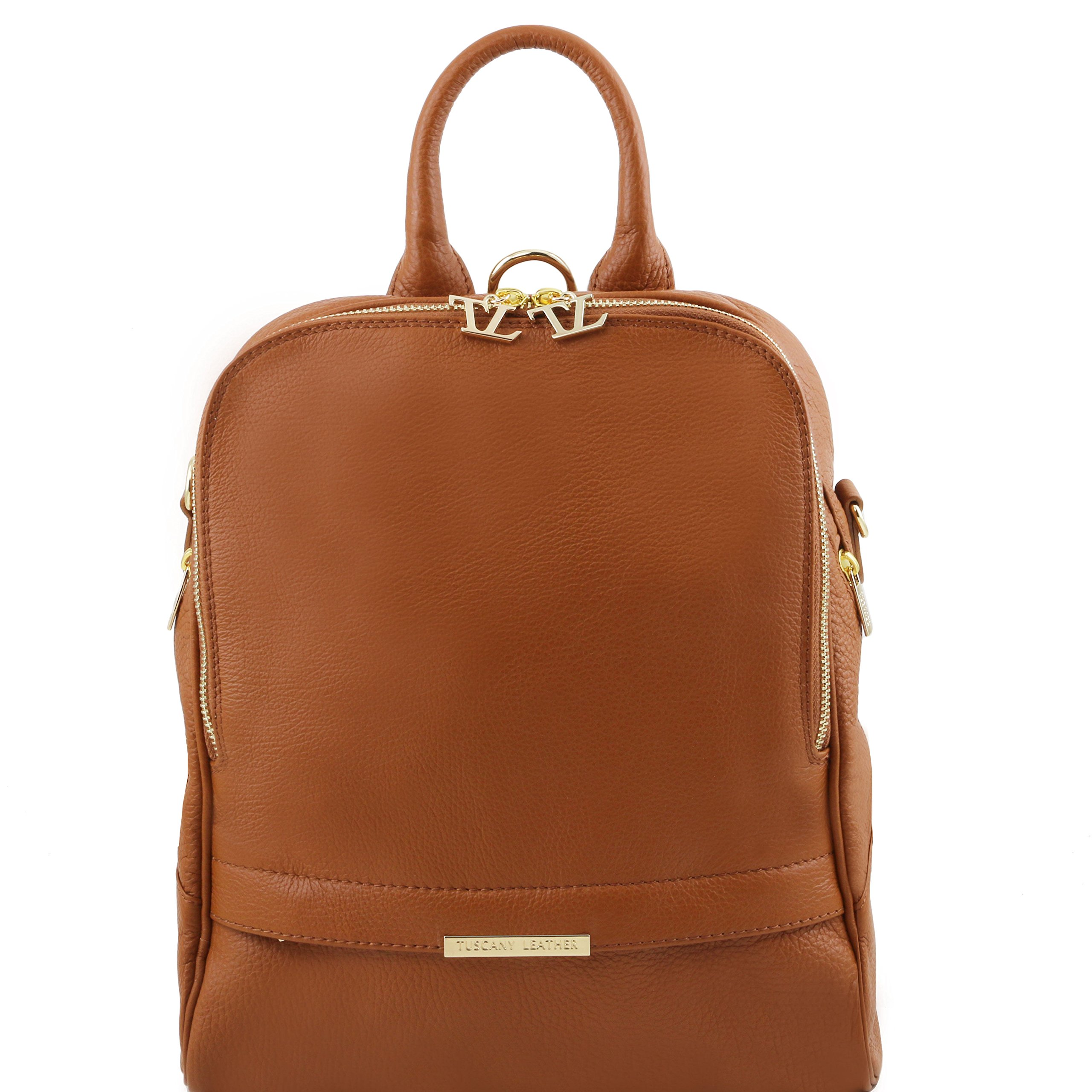 Tuscany Leather TLBag Soft leather backpack for women Cognac
