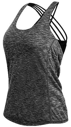 QUEENIEKE Chaleco Deportivo para Mujeres Cruzado-Cruzado 2 en 1 Color Negro Space Dye Tama/ño XL