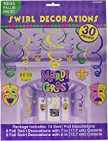 "Mardi Gras Hanging Swirl Party Decorations, Foil, 18"", Value Pack of 30."