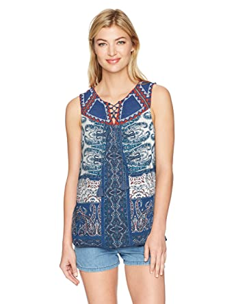 966aed5ff261b Lucky Brand Women s Printed Lace Up Tank Top at Amazon Women s ...