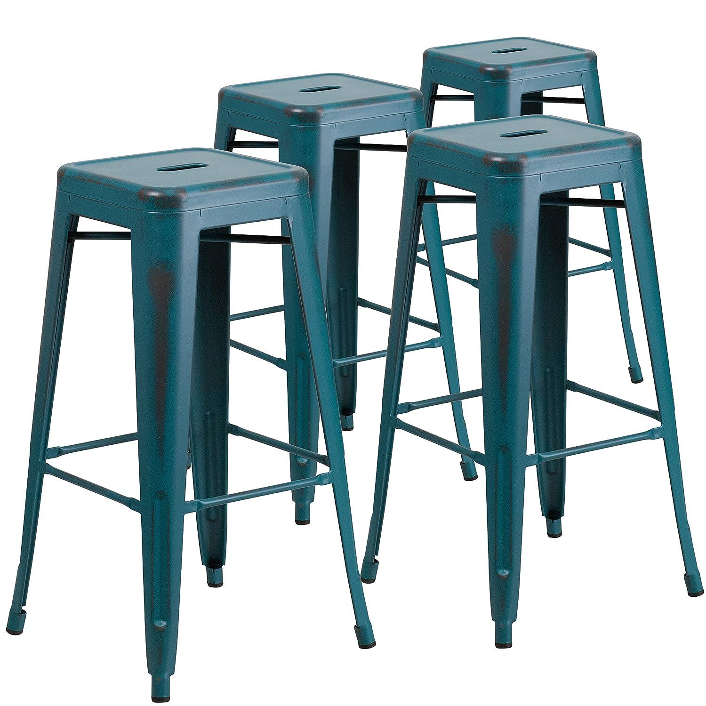 Amazon.com: Flash Furniture 4 Pk. 30\'\' High Backless Distressed ...