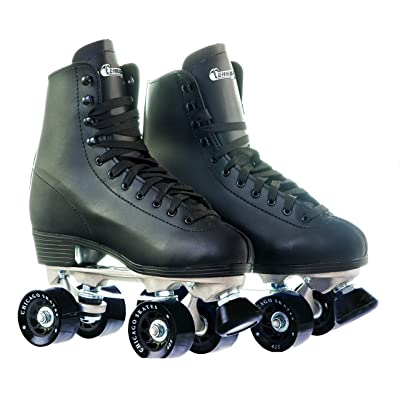 Chicago Men's Premium Leather Lined Rink Roller Skate - Classic Black Quad Skates : Inline Skates : Sports & Outdoors