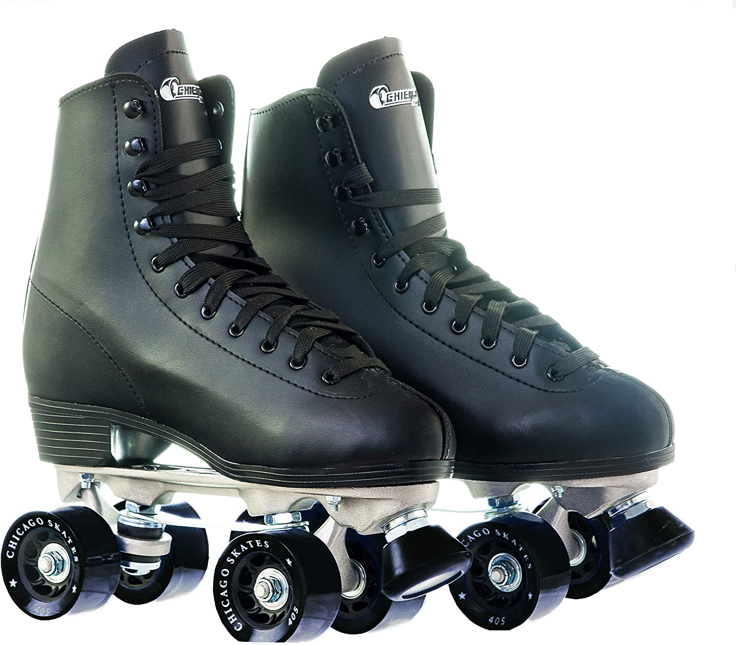Chicago Men's Premium Leather Lined Rink Roller Skate - Classic Black Quad Skates / US