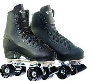 Chicago Men's Premium Leather Lined Rink Roller Skate - Classic Black Quad Skates