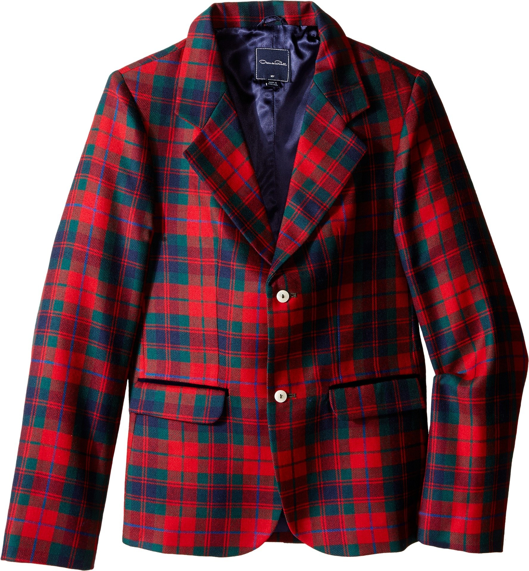 OSCAR DE LA RENTA Childrenswear Boys' Holiday Plaid Wool Blazer (Little Big Kids), Ruby Multi, 2 (Toddler) by OSCAR DE LA RENTA