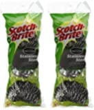 3M Scotch-Brite Stainless Steel Scouring Pad, 3-Pad(2Pack) by Scotch