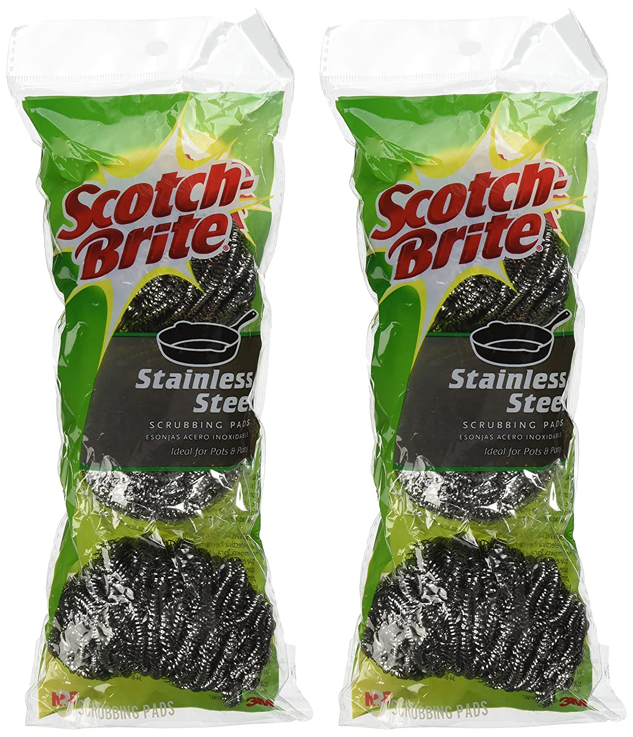 by Scotch 2Pack 3-Pad 3M Scotch-Brite Stainless Steel Scouring Pad