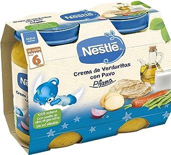 NESTLÉ Purés Pijama, Tarrito de puré de verduras y carne, variedad Crema de verduritas con Pavo - Para bebés a partir de 6 meses - Paquete de 2 ...