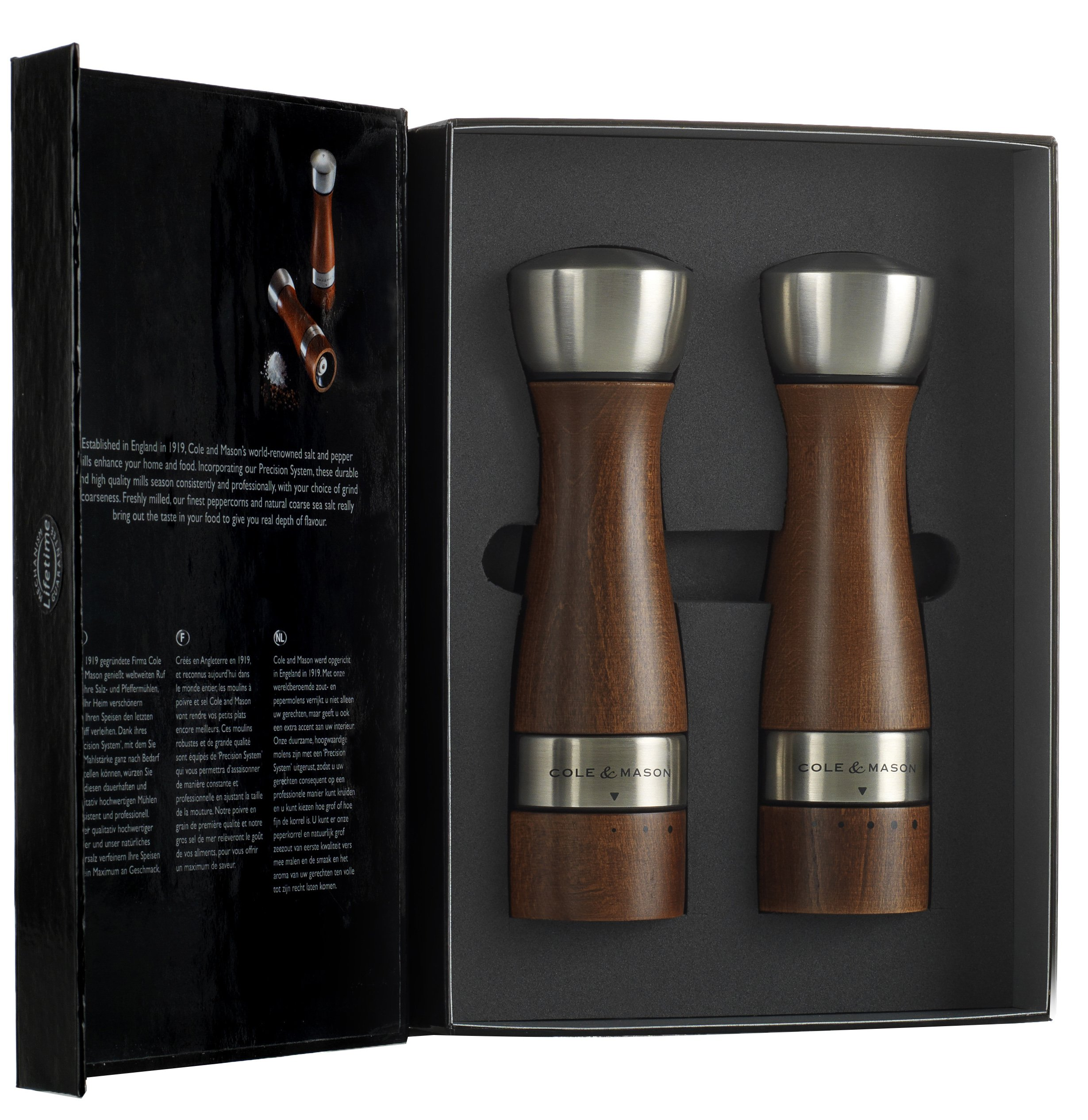 COLE & MASON Oldbury Wood Salt and Pepper Grinder Set - Wooden Mills Include Gift Box, Gourmet Precision Mechanisms and Premium Sea Salt & Peppercorns, Brown by Cole & Mason