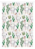 Cactus Decor Stall Shower Curtain by Ambesonne, Hot South Desert Plant Cactus Pattern with Camel Animal Modern Colored Image, Fabric Bathroom Decor Set with Hooks, 54 W x 78 L Inches, Multicolor