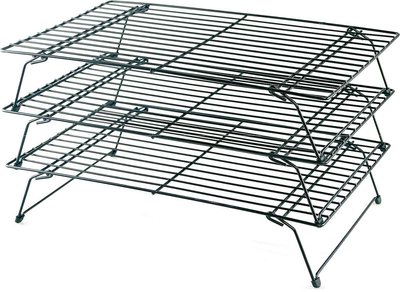 Buckingham Three Tier Stackable Non-Stick Cake Cooling Rack System, Steel, Black, 40 x 25 x 25 cm B & I International 30049