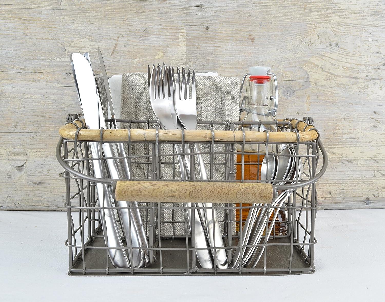Besteckkorb im Vintage Shabby Chic Besteckkasten f/ür Messer Tragbarer Besteckhalter. Gabel L/öffel und Servietten