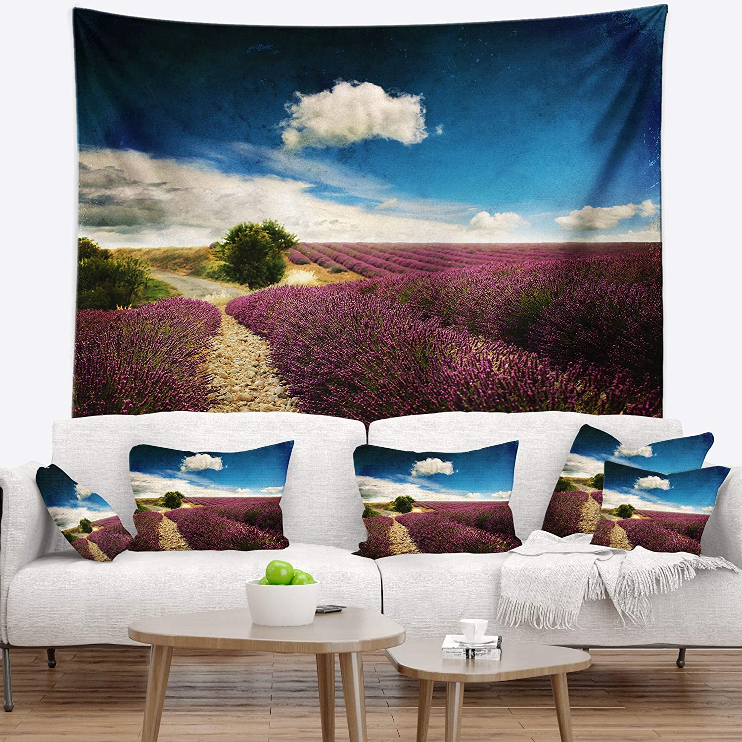 Created On Lightweight Polyester Fabric Designart TAP14748-80-68 Lavender Field with Dramatic Blue Sky Landscape Blanket D/écor Art for Home and Office Wall Tapestry x 68 in x Large: 80 in