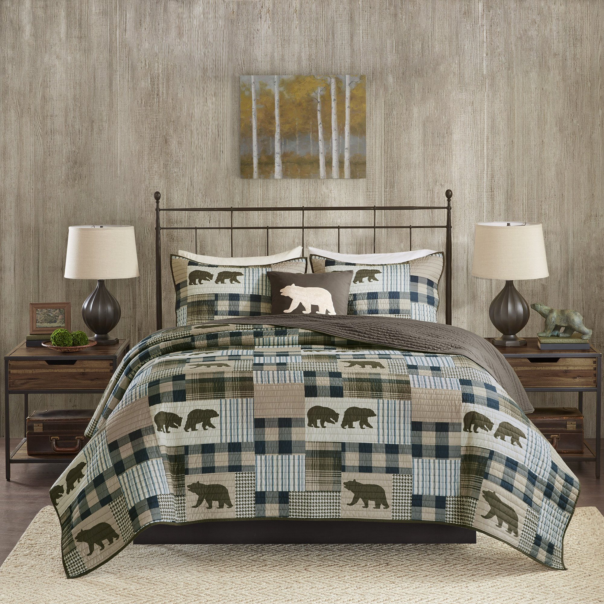 4 Piece Blue Brown Plaid KingCal King Quilt Set, Cabin Lodge Hunting Theme Bedding, Animal Print Bear Striped Checkered Pattern Patchwork Lumberjack Rugby Stripes Bears Motif Reversible, Polyester