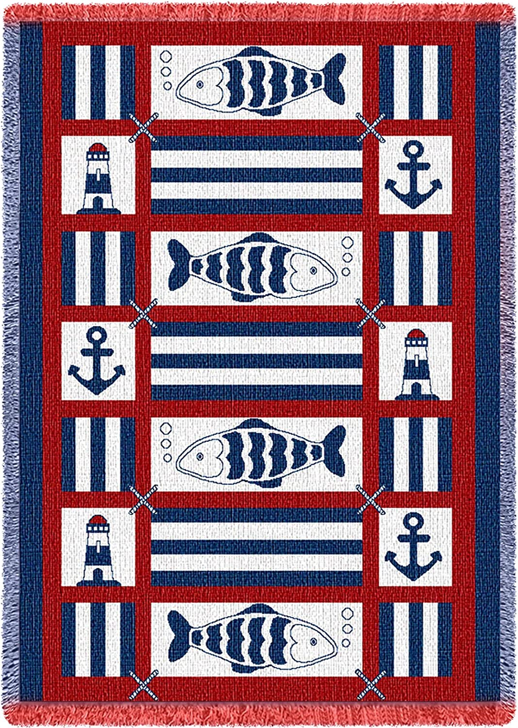 Pure Country Weavers Nautical Fish Throw Blanket Woven from Cotton - Made in The USA (69x48)