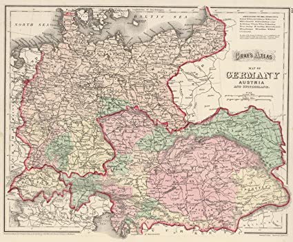 Amazon.com: Historic Map | Germany, Austria, and Switzerland ...