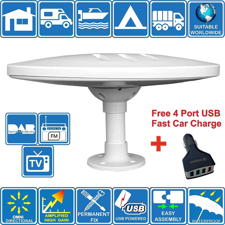 HELIO-MAGNET ANTENA de TV HD Digital Omnidireccional con 33dB Incorporado en Amplificador para DVB-T2 TDT FM DAB Ideal para Autocaravanas Camiones Caravanas Barcos por Unispectra/® 12V 5V USB 24V