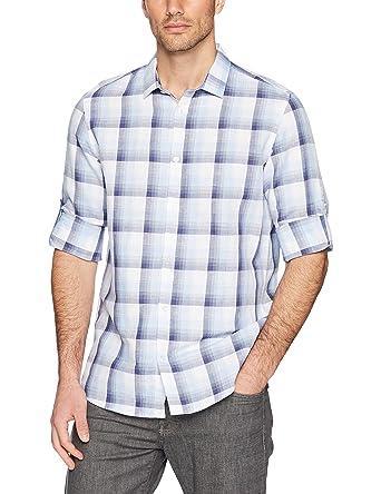 aba751faec Calvin Klein Men's Long Sleeve Woven Button Down Shirt, Atlantis, ...