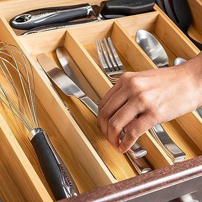 Buy Expandable Bamboo Drawer Organizer Large Silverware Organizer For Kitchen Organization Strong And Durable Bamboo Expandable Drawer Organizer 6 8 Compartments Utensil Drawer Organizers Online In Kazakhstan B088f4wc1m
