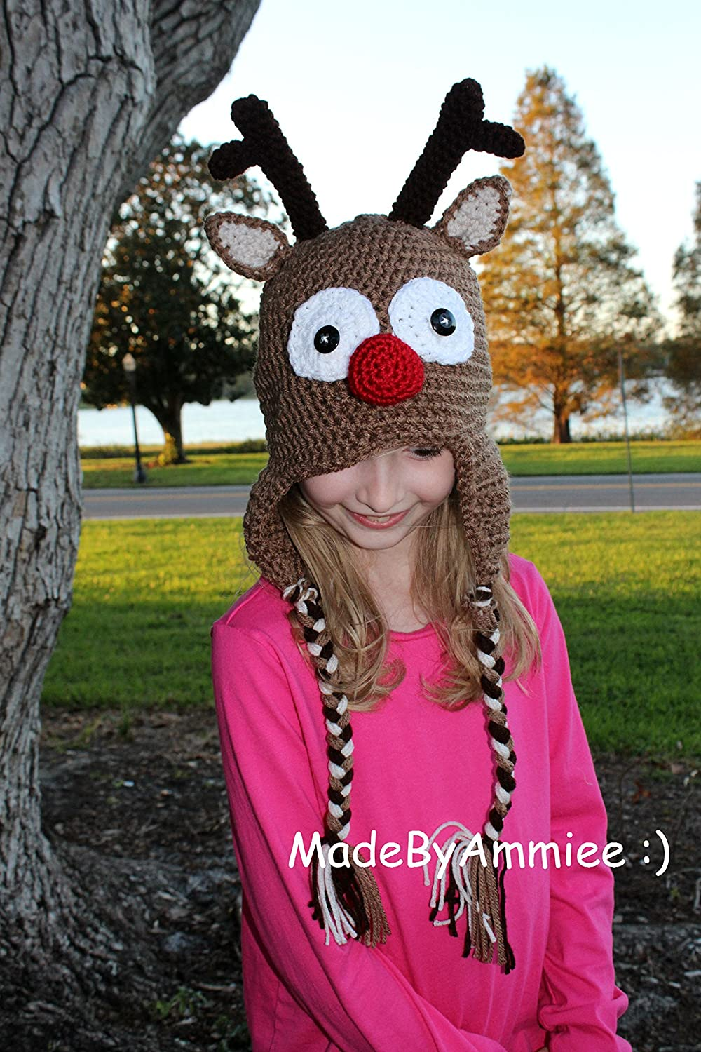 9d7145023 Amazon.com: Crochet Rudolph Red Nosed Reindeer Earflap Beanie with ...