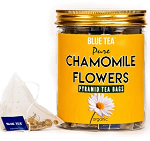 BLUE TEA - Pure Whole Chamomile Flower - 30 Pyramid Tea Bags | Calming and Relaxation Herbal Tea in FOOD Grade Pet Jar with METAL Lid | Non-GMO and Gluten Free | Origin - India |
