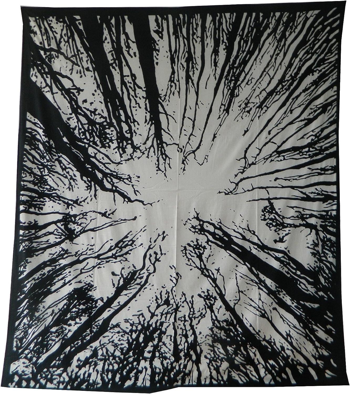 indischerbasar.de Colcha Bosque Blanco Negro India algodón Textil ...